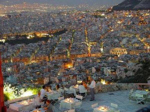 Dinner overlooking the enchanting city of Athens.