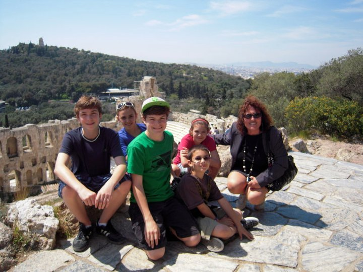 Young historians with Despina, their Athens Walking Tours Guide.