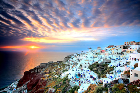 A stunning sunset over the Aegean as seen from a Greek island.