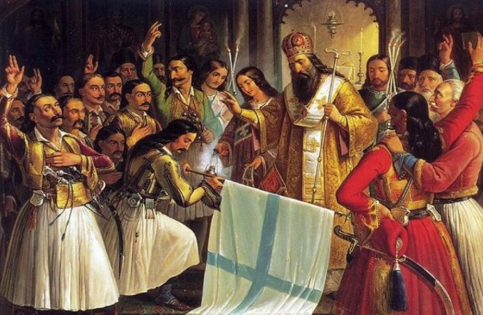 Theodoros Vryzakis - Bishop Germanos blessing the Greek Banner at Agia Lavra (1852)