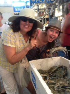 Playing with crabs at Varvakeios Food Market