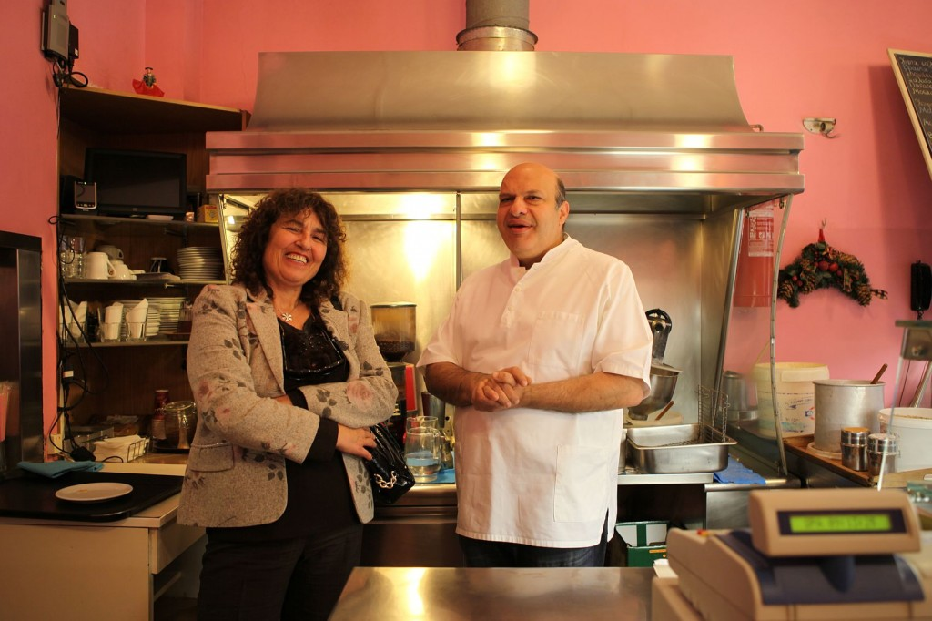 Despina with a proud Greek food-store owner