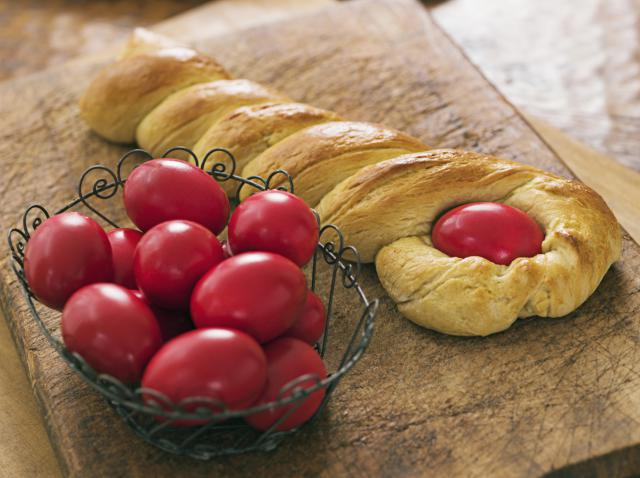 Greek Easter Bread (tsourekia) with red-coloured eggs