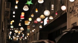 """The famous """"lampshade"""" street in Psirri."""