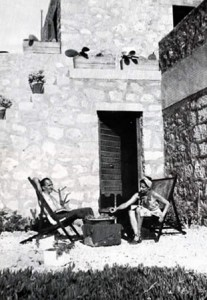 Nikos Kazantzakis at his house in Aegina.