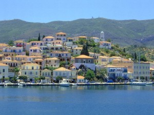 What you see when approaching the picturesque town of Poros from the sea.