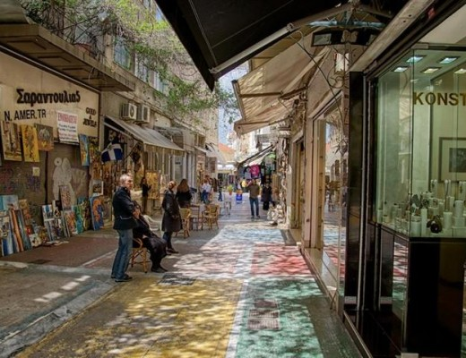 Light and Color on one of Athens' most famous market streets.