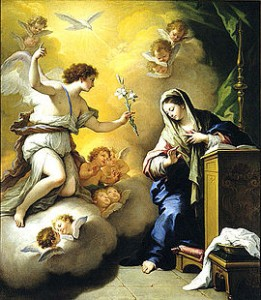 Archangel Gabriel announces to the Holy Mother that she is with child.