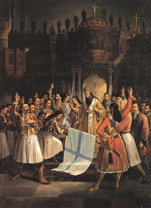 Bishop Germanos raises the flag of the Greek Revolution