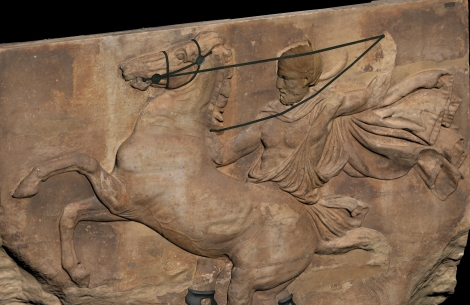 The rider with the untamed horse in the middle of the west frieze of the parthenon Marbles at the Acropolis Museum. Representation of bronze bridles