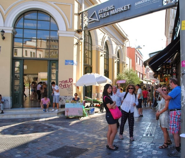 At the beginning of the Flea Market (Monastiraki square)