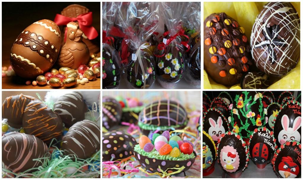 Wonderfully decorated Chocolate Eggs