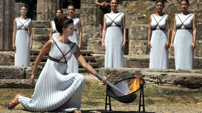 The lighting of the Olympic Flame in Ancient Olympia