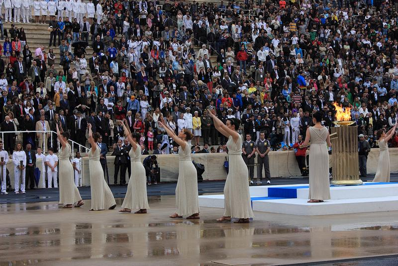 The Olympic Flame Ceremony at the Panathenaic Stadium