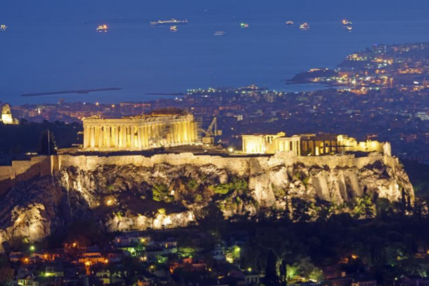 The Acropolis of Athens with Piraeus in the background