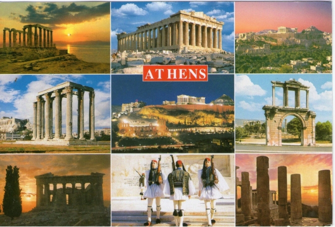 Athens Postcard with Cape Sounio, Acropolis, Hadrian's Arch, Zeus Temple and the Evzones