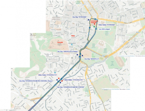 The route map of the Express Bus X80 - Athens part
