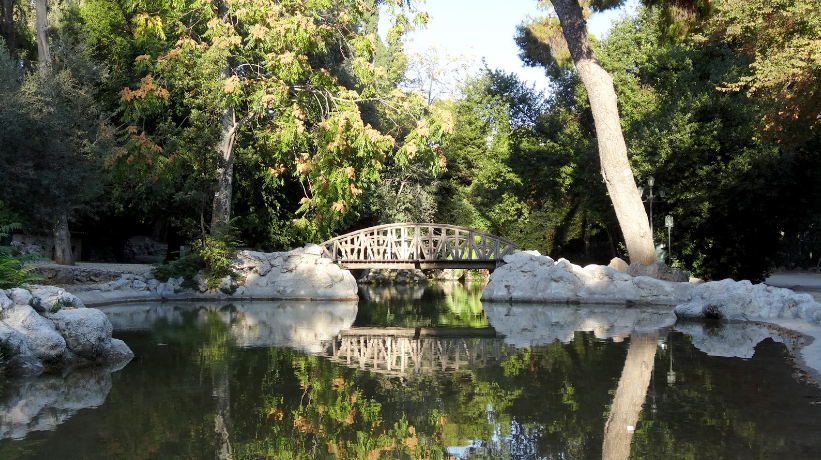 The central pond with the wooden bridge - National Garden of Athens