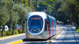 "The Athens Coastal Tram with direction ""Voula"""