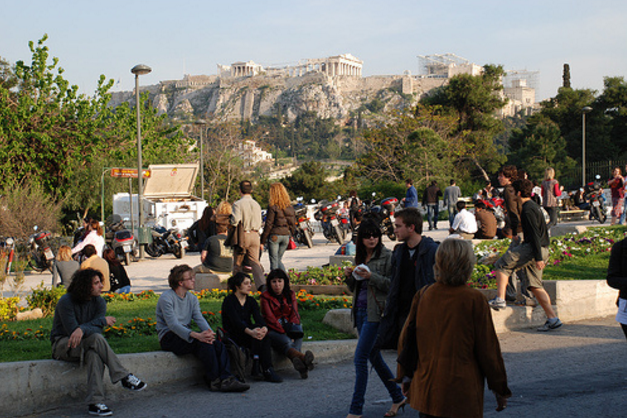 A lovely promenade in the shadow of the Acropolis