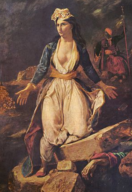 "Eugène Delacroix - ""Greece on the ruins of Missolonghi (1826)"