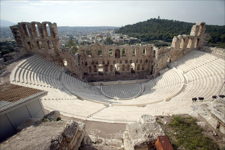 The Odeon of Herodes Atticus, as seen from the South slope of the Acropolis during the visit with Athens Walking Tours